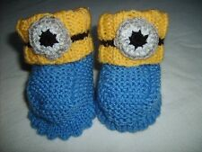 Minion inspired baby bootie socks - hand knitted own design