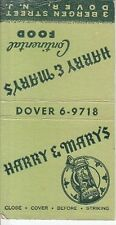 Harry & Mary's Continental Food 3 Bergen Street Dover New Jersey Old Matchcover