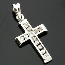 9ct White Gold Cubic Zirconia Cross Pendant - Boxed U.K. Made