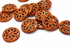 Flower Filigree Wood Buttons Natural Brown Wooden Large Coat Chinese 30mm 20pcs