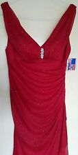 New UK10 designer BETSY & ADAM by Linda Bernell greek style Red maxi dress £129