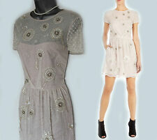 KAREN MILLEN Cream Dandelion Embellished Beaded Bridal Cocktail Dress UK16 £395