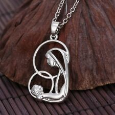 925 necklace pendant FAMILY crystal silver mother daughter 1 children single mom