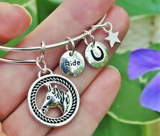 Horse Head Expandable Wire Bangle Bracelet Horseshoe Sterling Silver Plt Charms