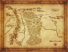"Map of Middle Earth Lord Of The Ring Fabric Art Cloth Poster 17x13"" Decor 39"