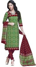Vatika Women's Cotton Unstitched Dress Material (D09_Green & Maroon_Free size)