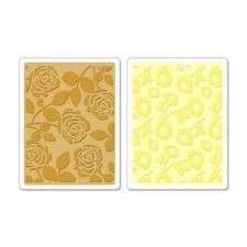 Sizzix Textured Impressions Embossing Folders 2PK Pom-Poms & Roses Set 658518
