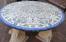 "60"" White Marble Dining Table Top Mother of Peal Marquetry Inlay Art Deco H2396"