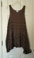 NEW FREE PEOPLE VOILE AND LACE TRAPEZE SLIP DRESS Brown Combo MEDIUM