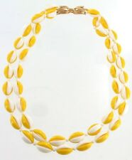 VINTAGE TRIFARI MOD YELLOW WHITE 60'S DOUBLE STRAND NECKLACE GO GO BOOTS 18.5""