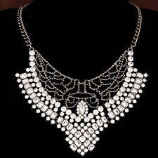 Rhinestone Crystal Bib Statement Collar Choker Party Wedding Necklace