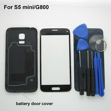 Black G800 Battery back cover & G800F front screen glass Samsung Galaxy S5 mini