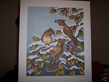 Cedar Wax Wings by Christine Marshall Limited Edition AP Lithograph #16/25