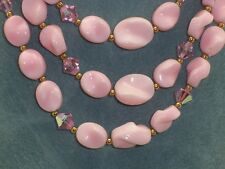 Vtg Triple Strand Molded Pink Plastic Bead Pink Faceted Crystal Bead Necklace