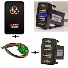 Push Switch Orange Zombie Light +Dual USB 2 Port Charger For Toyota FJ Cruiser