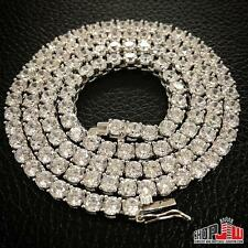Mens 14k White Gold Finish .925 Silver Simulated Diamond 1 Row Iced Out Chain