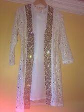 Pakistani Shalwar Kameez Asian wedding Dress Jacket Party Suit Eid White Medium