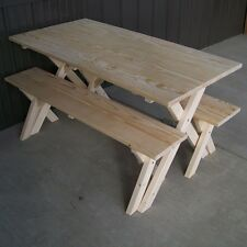 Picnic Table With Benches Outdoor Furniture Woodworking Design Rectangle Cross