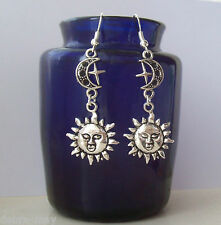 Celestial Sun Moon and Star Dangly Silver Plated Earrings