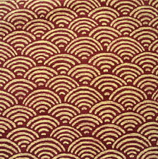 [Precut] 50x110cm Japanese Seigaiha Maroon Red / Beige Cotton Fabric - PC772