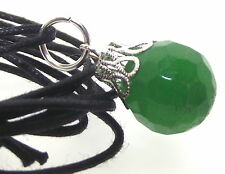 14mm Faceted Green Malaysian Jade Gemstone Crystal Sphere Pendant