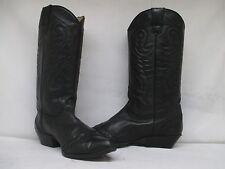 NINE WEST Black Leather Lizard Print Toe Cap Cowboy Boots Size 10 M