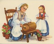 VINTAGE BUTTER CHURN GERANIUM FLOWER SAND TART CRESCENTS RECIPE 1 APPLE PIE CARD