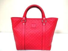 Authentic GUCCI Red Guccissima 297557 Leather Tote Bag with Dust Bag