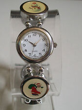 CHRISTMAS SNOWMAN,TREE,SNOWFLAKE,SANTA ETC.SILVER FINISH STRETCHY FASHION WATCH