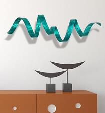 Teal Metal Wall Twist Sculpture - Abstract Modern Wall Art Decor - Jon Allen