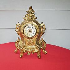 Antique Cast Iron Westclox Gilded Victorian Shelf Mantle Clock Cherubs #489