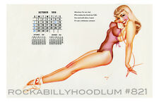 Pin Up Girl Poster 11x17 George Petty girl calendar October 1956 Blonde Phone
