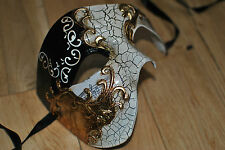 MENS Venetian BLACK/CREAM Phantom/Half face Mask.Masquerade /Ball /Prom.UK STOCK