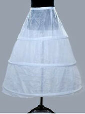 White 3 Hoops Bone Wedding Ball Gown Bridal Dress Crinoline Petticoat Underskirt