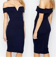 Boohoo Off The Shoulder Bodycon Dress Navy UK 6 US 2 EUR 34 (CA902)