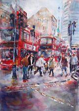 """Nuevo Hermoso sera Caballero Original """"la ciudad de Londres-ajetreada ciudad"""" pintura de acrílico"""