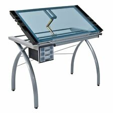 Crafting Drawing Table Studio Designs Futura Craft Station Silver Blue Glass