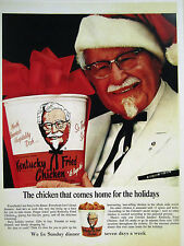 """Vintage 1960's Ad Store Sign Ad Christmas KFC """"REAL"""" COLONEL SANDERS AS SANTA"""