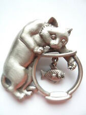 "Vintage Signed JJ   ""Silver pewter Cat with Paw in Fishbowl"" Brooch/Pin"