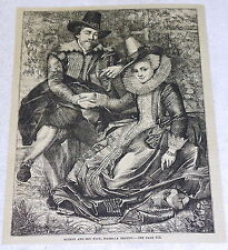 1878 magazine engraving~ Baroque Painter PETER RUBENS & WIFE, ISABELLA BRANDT