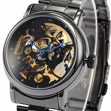 Men's Skeleton Dial Stainless Steel Automatic Winding Mechanical Wrist Watch