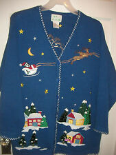 Ugly Christmas Blue Quacker Factory Night Before Christmas Cardigan Sweater 2X
