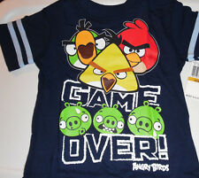 Angry Birds 100% Cotton Short Sleeve T Tee Shirt Toddler Boys 2T Blue Game Over