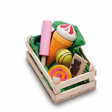 Wooden pretend role play food Erzi kitchen shop: Crate of Candies, Ice Creams