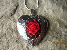 RED ROSE ON BLACK CAMEO SILVER PLATED HEART LOCKET - UNIQUE, HANDMADE