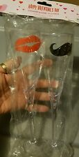 NIP Wedding Valentine Party Plastic His Hers Champagne Flutes Lips Mustache