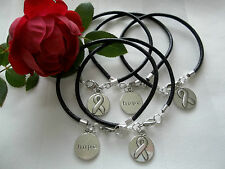 5 CT. MELANOMA SKIN CANCER AWARENESS BLACK  LEATHER CHARM BRACELETS