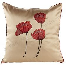 "Poppies Cream & Red Piped Faux Silk 18"" Cushion Cover BNWT"