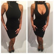 Connie's (reversable) Black Mock Neck Mini Dress Or Mock Neck Open chest Mini XL