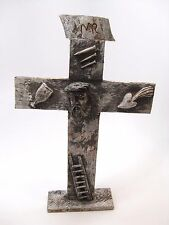 Rare Jesus Christ on Cross Mexican Folk Art Wood Carved Sculpture - Signed Solis